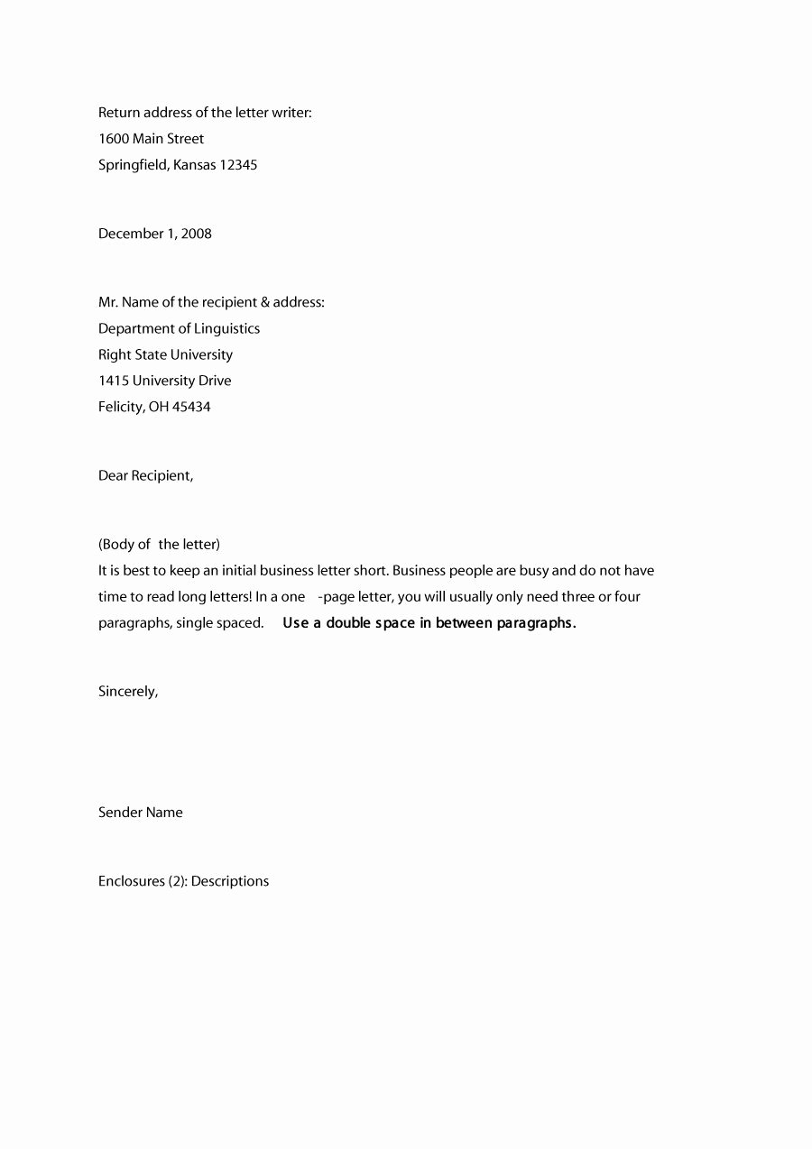 Sample Of Bussiness Letters Elegant 35 formal Business Letter format Templates & Examples