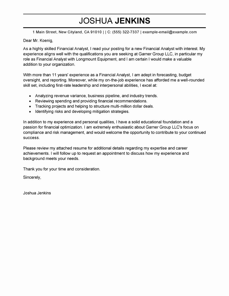 Sample Of Bussiness Letters Fresh Business Analyst Cover Letter Examples