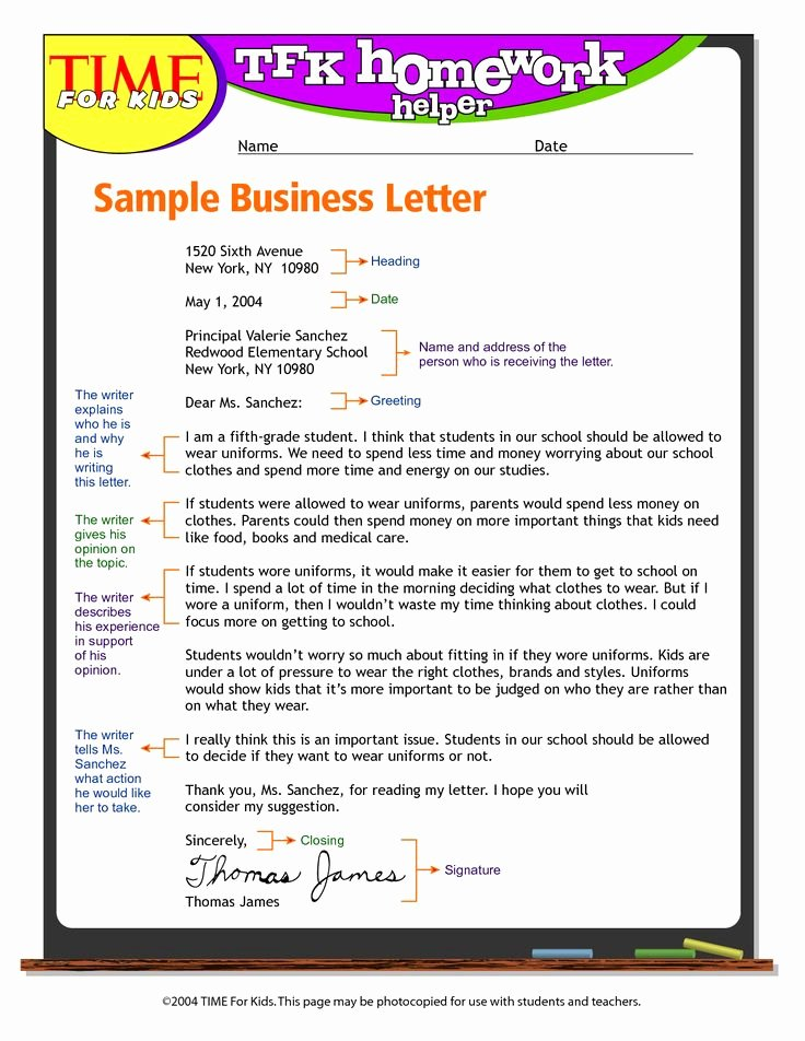 Sample Of Bussiness Letters Lovely Exandle Business Letter format for Kids Write Business