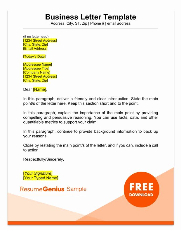 Sample Of Bussiness Letters Luxury Sample Business Letter format 75 Free Letter Templates