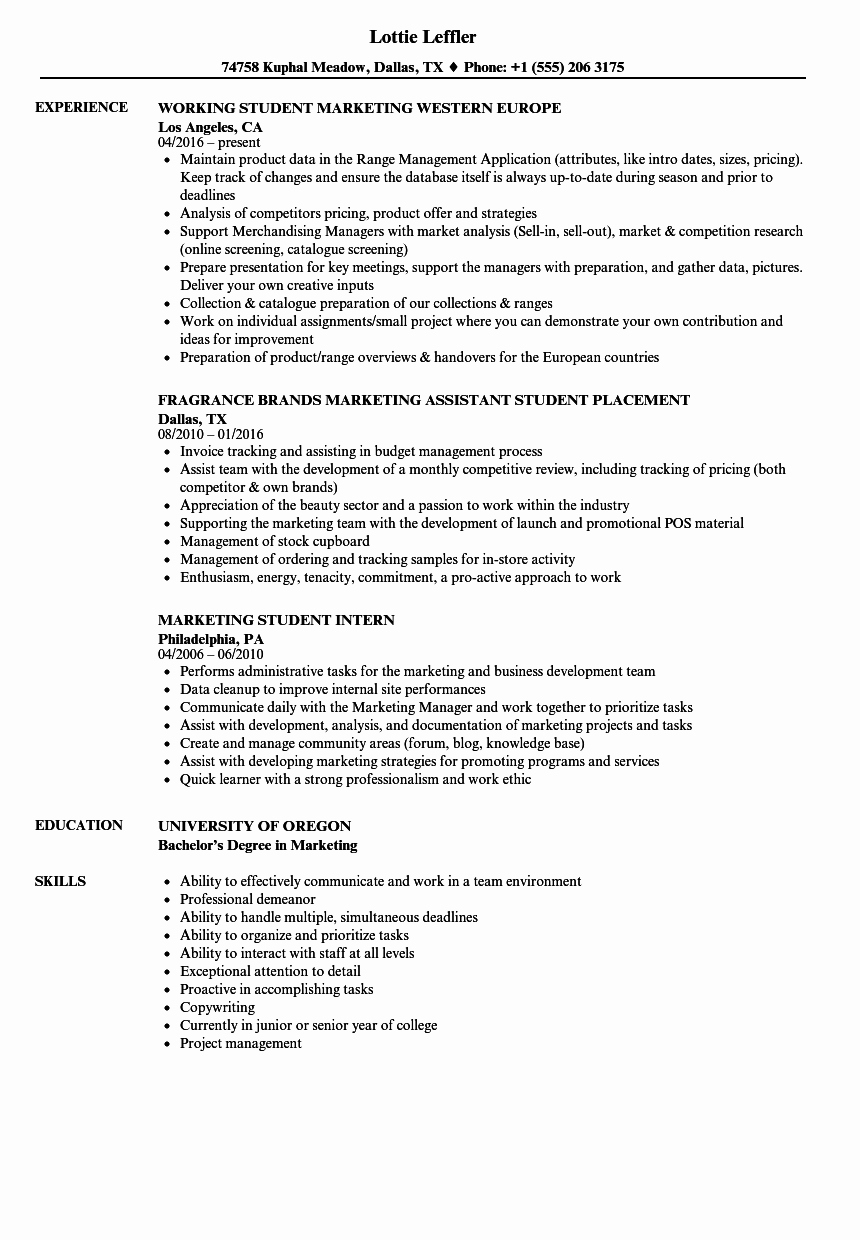 Sample Resume College Student Beautiful Marketing Student Resume Samples