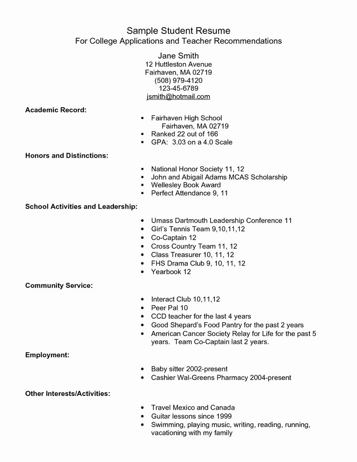 Sample Resume College Student Inspirational Example Resume for High School Students for College