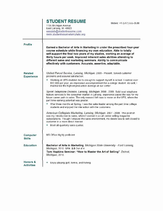 Sample Resume College Student Inspirational Student Resume Templates