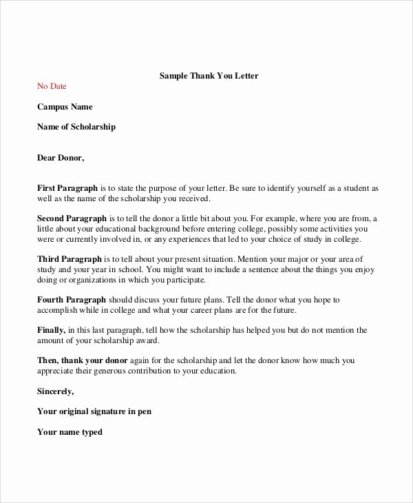 Sample Scholarship Thank You Letter Best Of Sample Thank You Letter for Scholarship 7 Examples In
