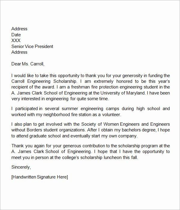 Sample Scholarship Thank You Letter Elegant Free 13 Sample Scholarship Thank You Letters In Doc