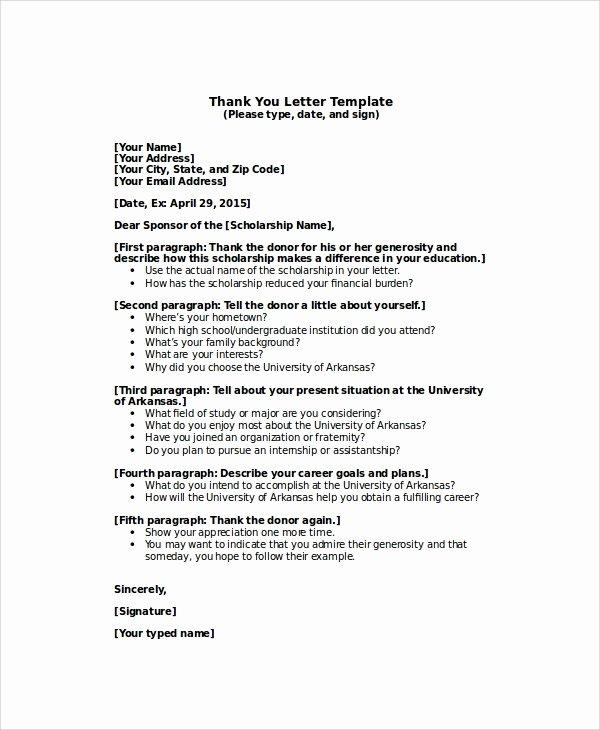 Sample Scholarship Thank You Letter Fresh Sample Thank You Letter for Scholarship 7 Examples In
