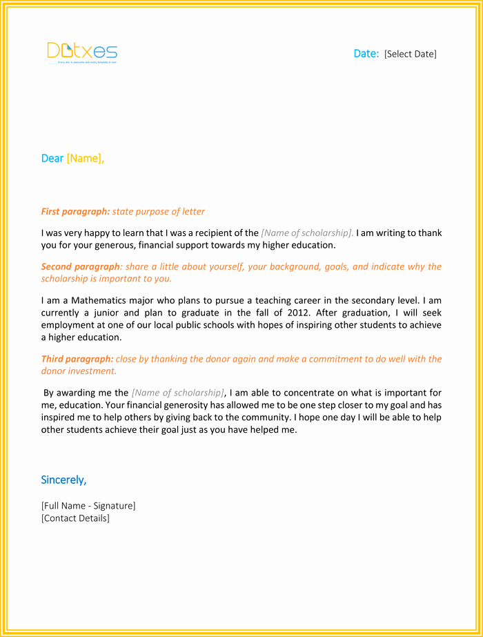 Sample Scholarship Thank You Letter Fresh Scholarship Thank You Letter 7 Sample Templates You
