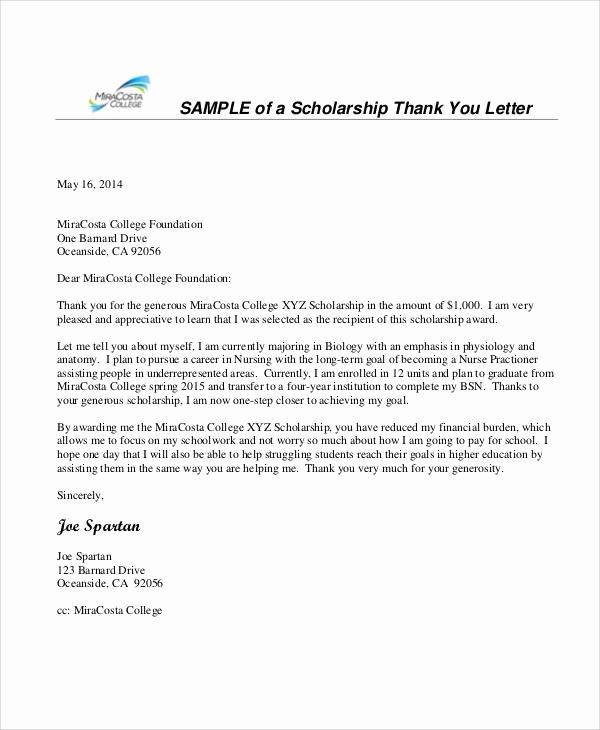 Sample Scholarship Thank You Letter Inspirational Nursing Thank You Letter Sample 10 Examples In Word Pdf