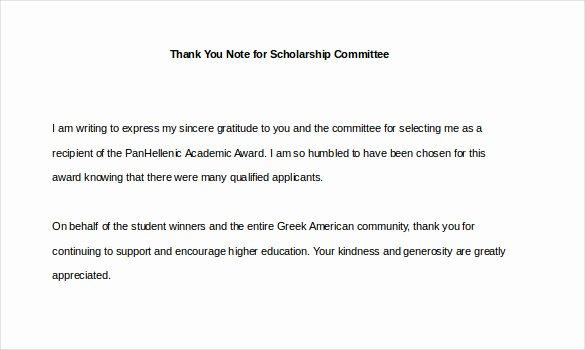 Sample Scholarship Thank You Letter Lovely 9 Thank You Notes for Scholarship – Free Sample Example