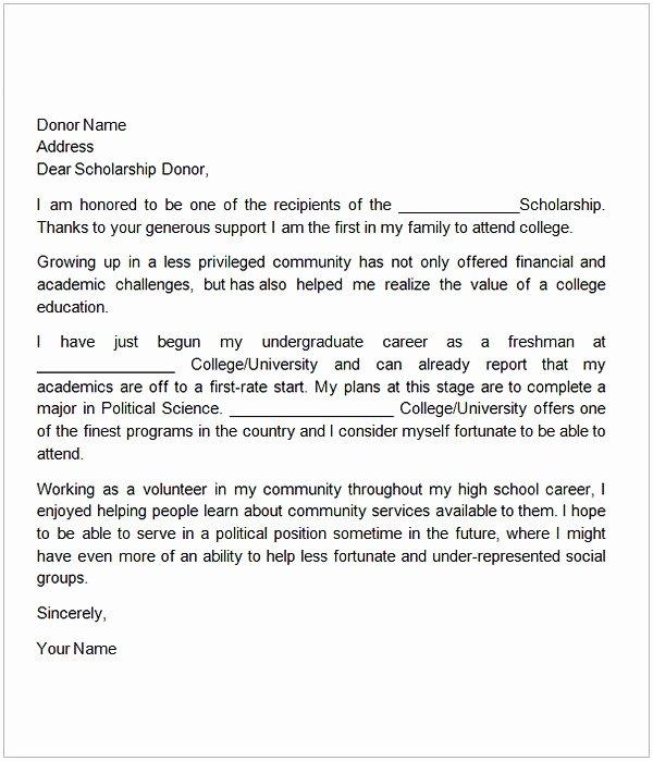 Sample Scholarship Thank You Letter Luxury Thank You Letter for Scholarship Sample