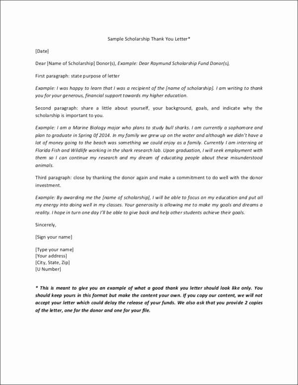 Sample Scholarship Thank You Letter Luxury Writing College Scholarship Thank You Letters
