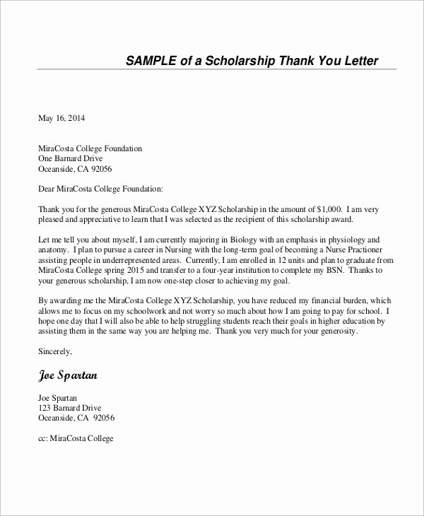 Sample Scholarship Thank You Letter New Sample Thank You Letter for Scholarship 7 Examples In