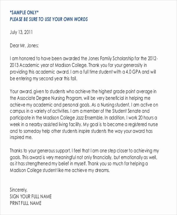 Sample Scholarship Thank You Letter New Sample Thank You Letter for Scholarship Award 5