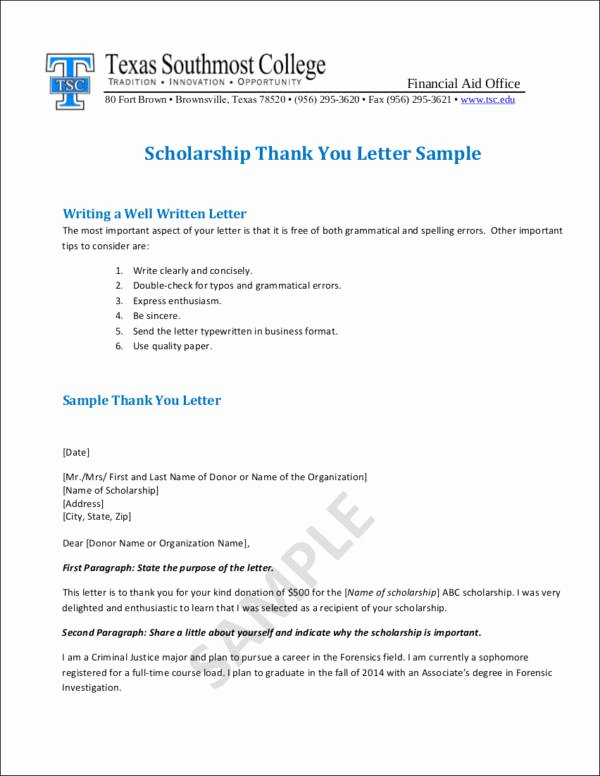 Sample Scholarship Thank You Letter Unique Writing College Scholarship Thank You Letters