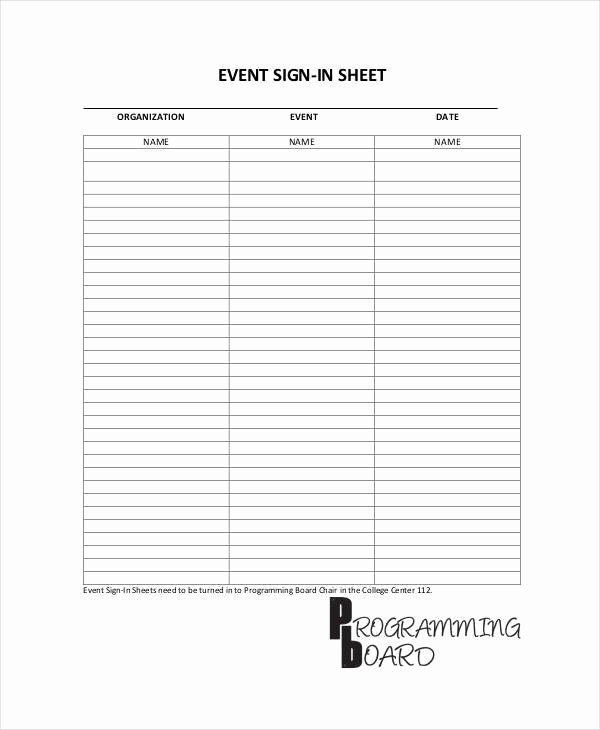 Sample Sign In Sheet Awesome 10 Sign In Sheet Samples & Templates In Pdf