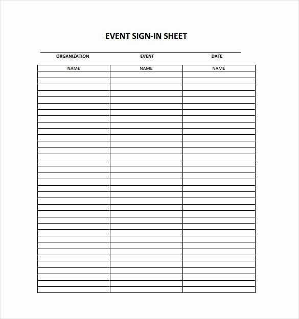 Sample Sign In Sheet Awesome 18 Sign In Sheet Templates – Free Sample Example format