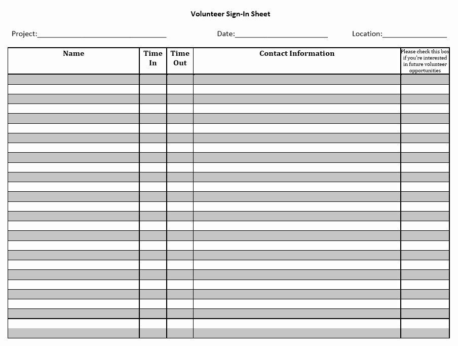 Sample Sign In Sheet Beautiful 10 Free Sample Volunteer Sign In Sheet Templates