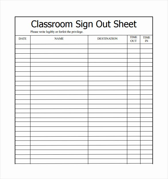 Sample Sign In Sheet Inspirational 19 Sign Out Sheet Templates Free Sample Example