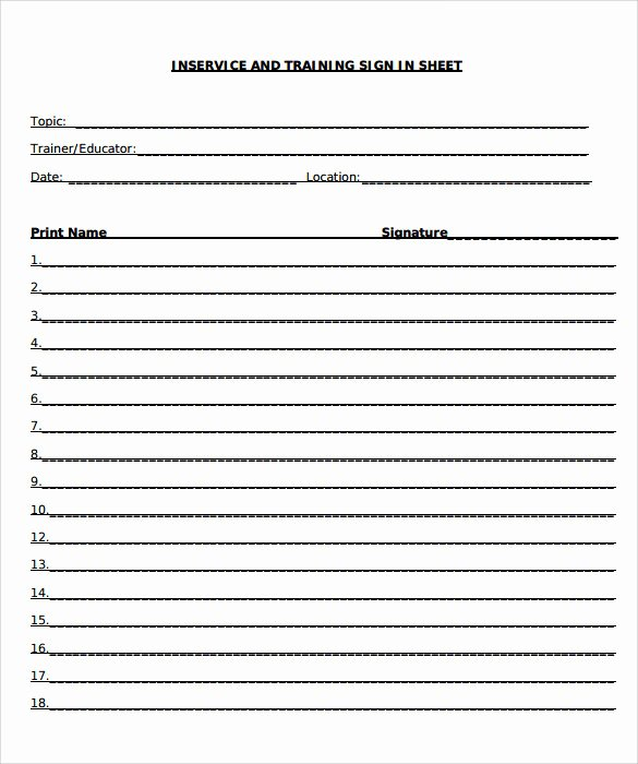 Sample Sign In Sheet Lovely Sample Training Sign In Sheet 17 Documents In Pdf