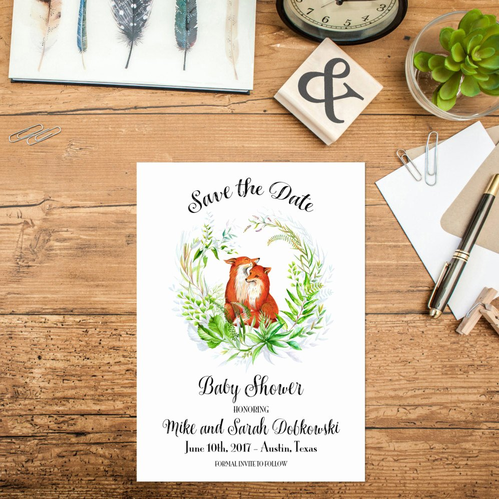 Save the Date Baby Shower Awesome Woodland Baby Shower Save the Date Printable Woodland Animal