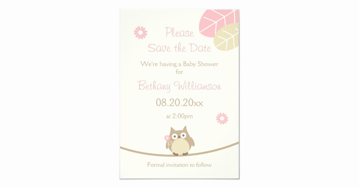 Save the Date Baby Shower Beautiful Girl Owl Baby Shower Save the Date Card