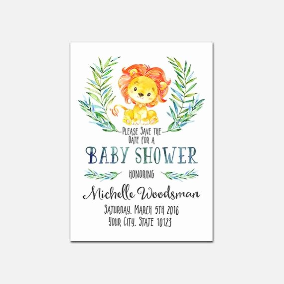 Save the Date Baby Shower Beautiful Lion Baby Shower Save the Date Printable Lion by