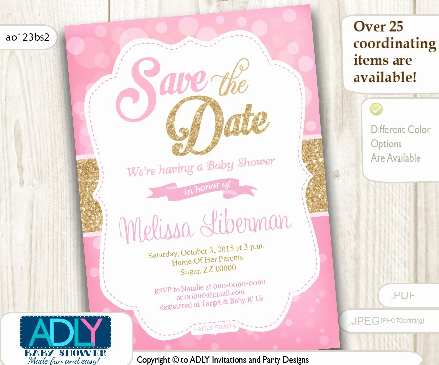 Save the Date Baby Shower Beautiful Save the Date Invitation for Baby Shower Bokeh Pink and Gold