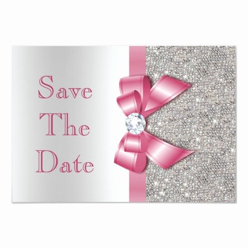 Save the Date Baby Shower Fresh Faux Pink Bow Diamonds Save the Date Baby Shower Card