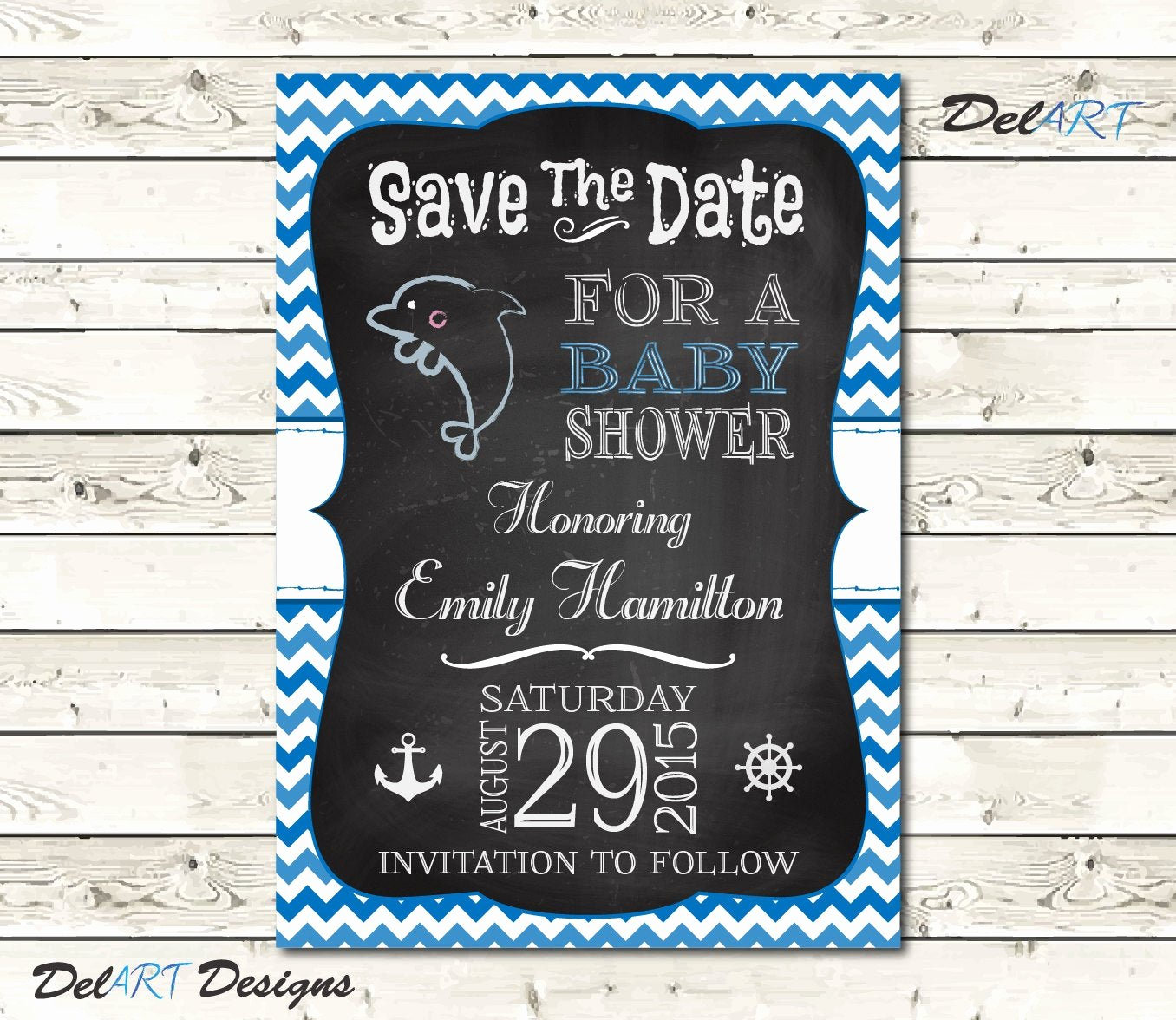 Save the Date Baby Shower Inspirational Baby Shower Save the Date Chalkboard Art Nautical by