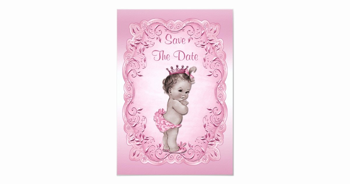 Save the Date Baby Shower Inspirational Pink Vintage Princess Save the Date Baby Shower Card