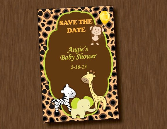 Save the Date Baby Shower Inspirational Printable Baby Shower Save the Date Invitation Jungle Animal