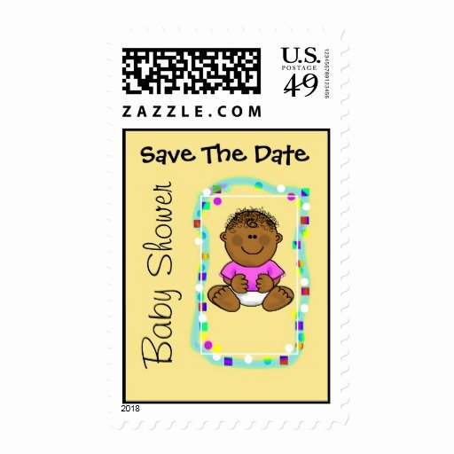 Save the Date Baby Shower Lovely Brown Baby Girl Save the Date Baby Shower Stamp
