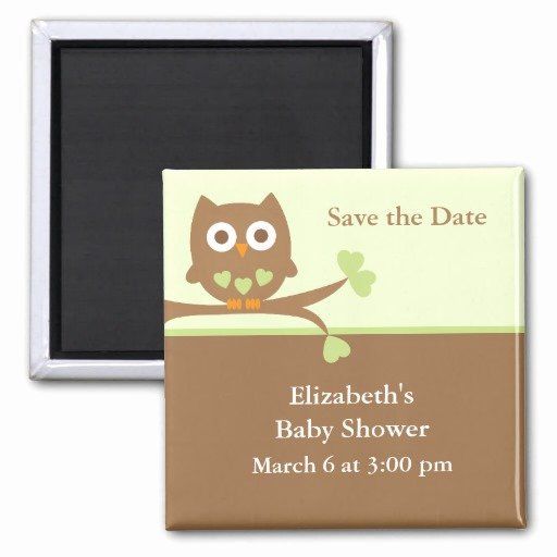 Save the Date Baby Shower Lovely Green Owl Baby Shower Save the Date Fridge Magnets