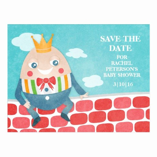Save the Date Baby Shower Luxury Colorful Humpty Dumpty Baby Shower Save the Date Postcard