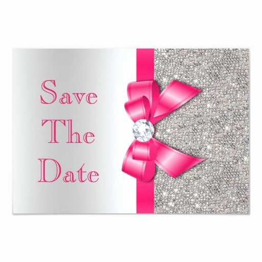 Save the Date Baby Shower Luxury Hot Pink Bow Diamonds Save the Date Baby Shower 3 5x5