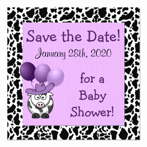 Save the Date Baby Shower Luxury Western Baby Shower Save the Date Purple Invitation