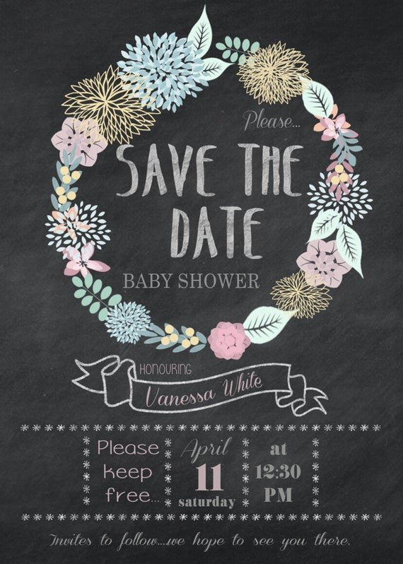 Save the Date Baby Shower New Printable Floral Save the Date Baby Shower 5x7
