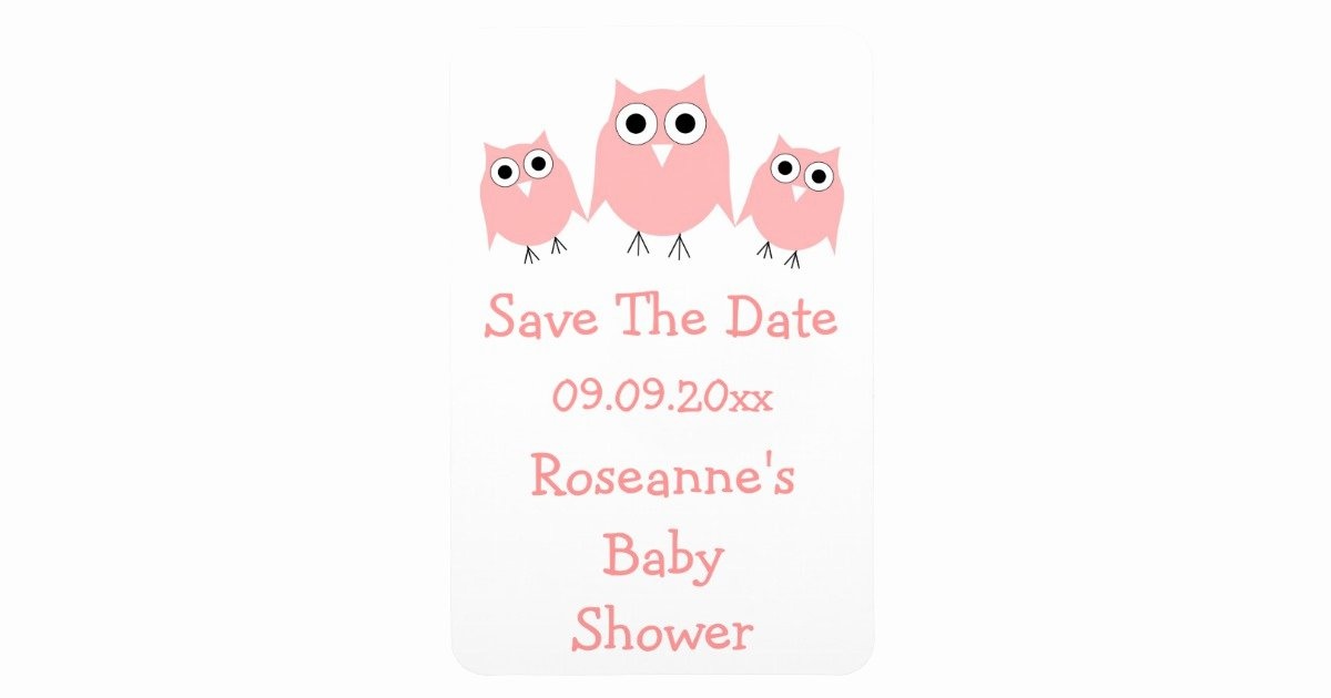 Save the Date Baby Shower Unique Pink Owl Save the Date Baby Shower Magnet