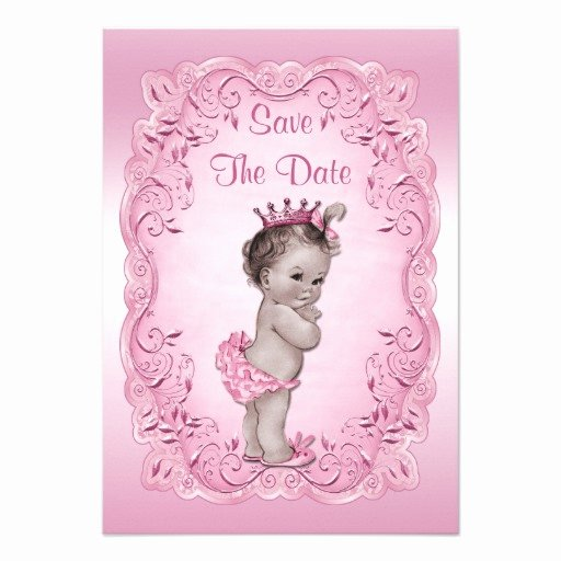 "Save the Date Baby Shower Unique Pink Vintage Princess Save the Date Baby Shower 3 5"" X 5"