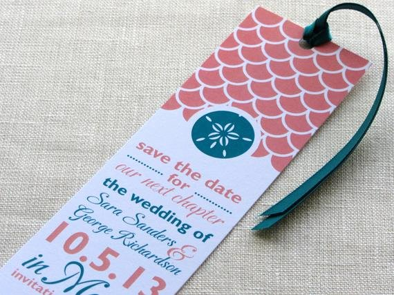 Save the Date Bookmarks Awesome Sand Dollar Bookmark Save the Date Wave Scallop Print with