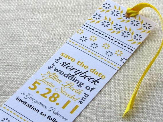 Save the Date Bookmarks Elegant Bookmark Save the Date Indian Block Print with Typographic