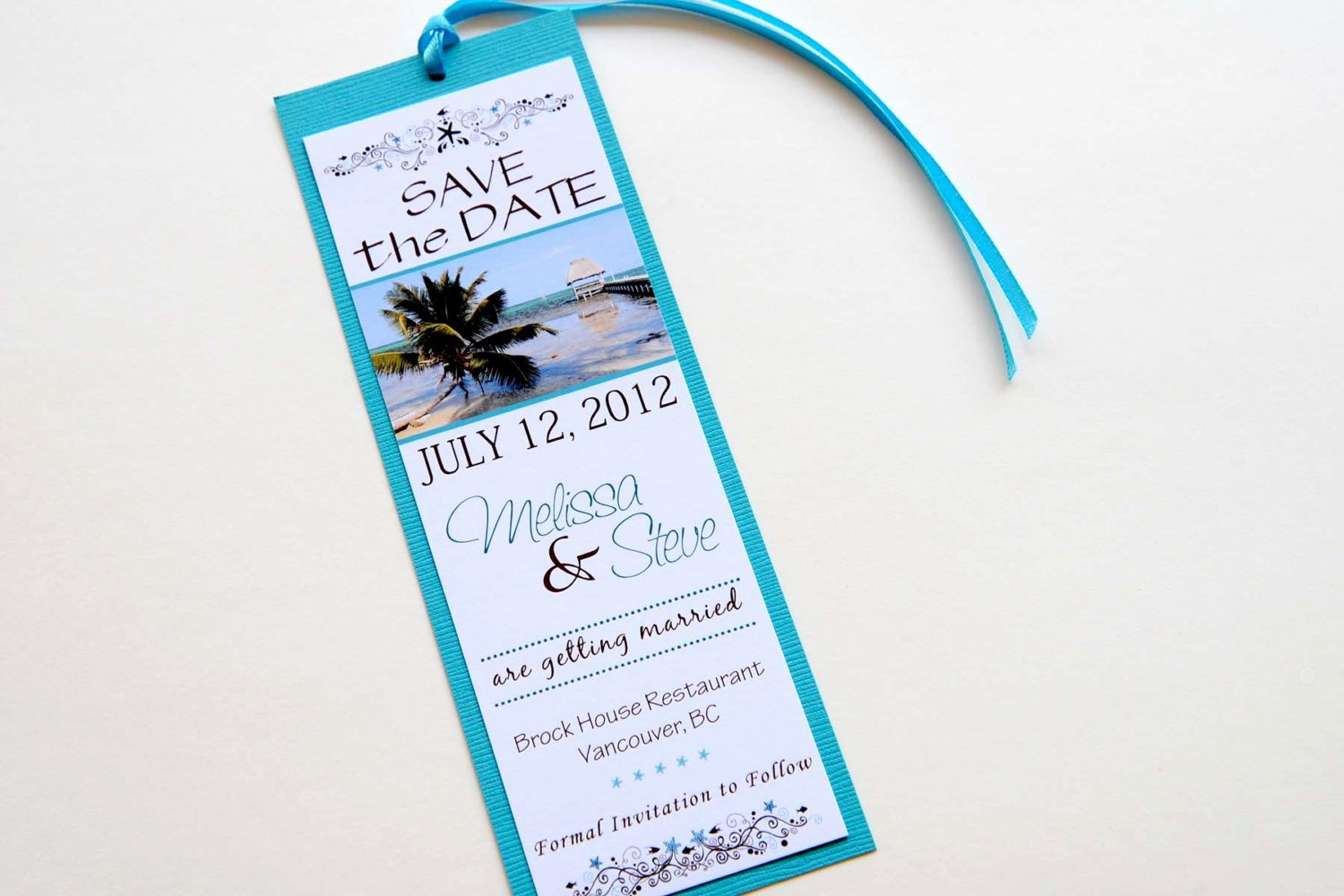 Save the Date Bookmarks Lovely Tropical Beach Destination Wedding Save the Date Bookmark