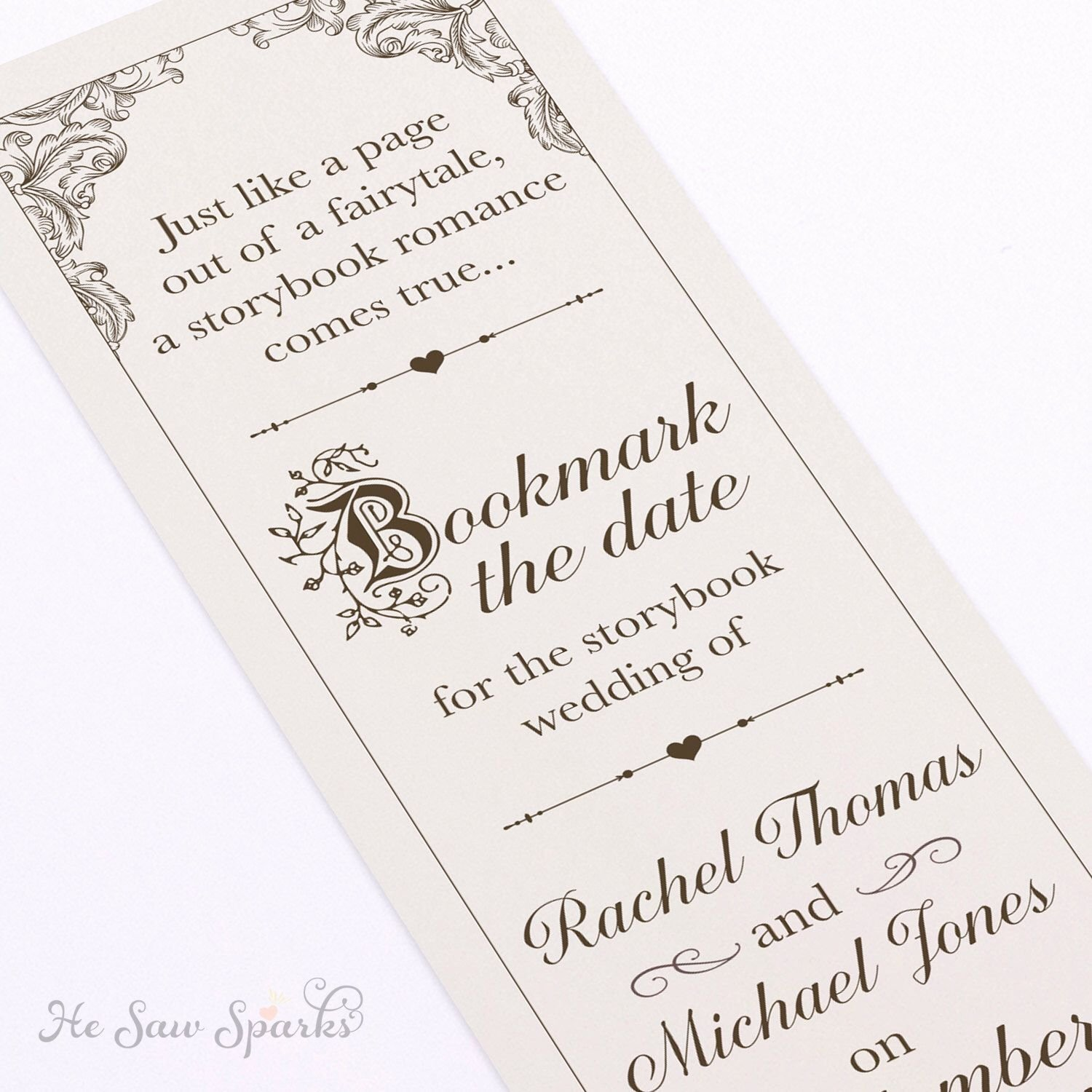 Save the Date Bookmarks Unique Fairytale Bookmark Save the Date Diy Printable by