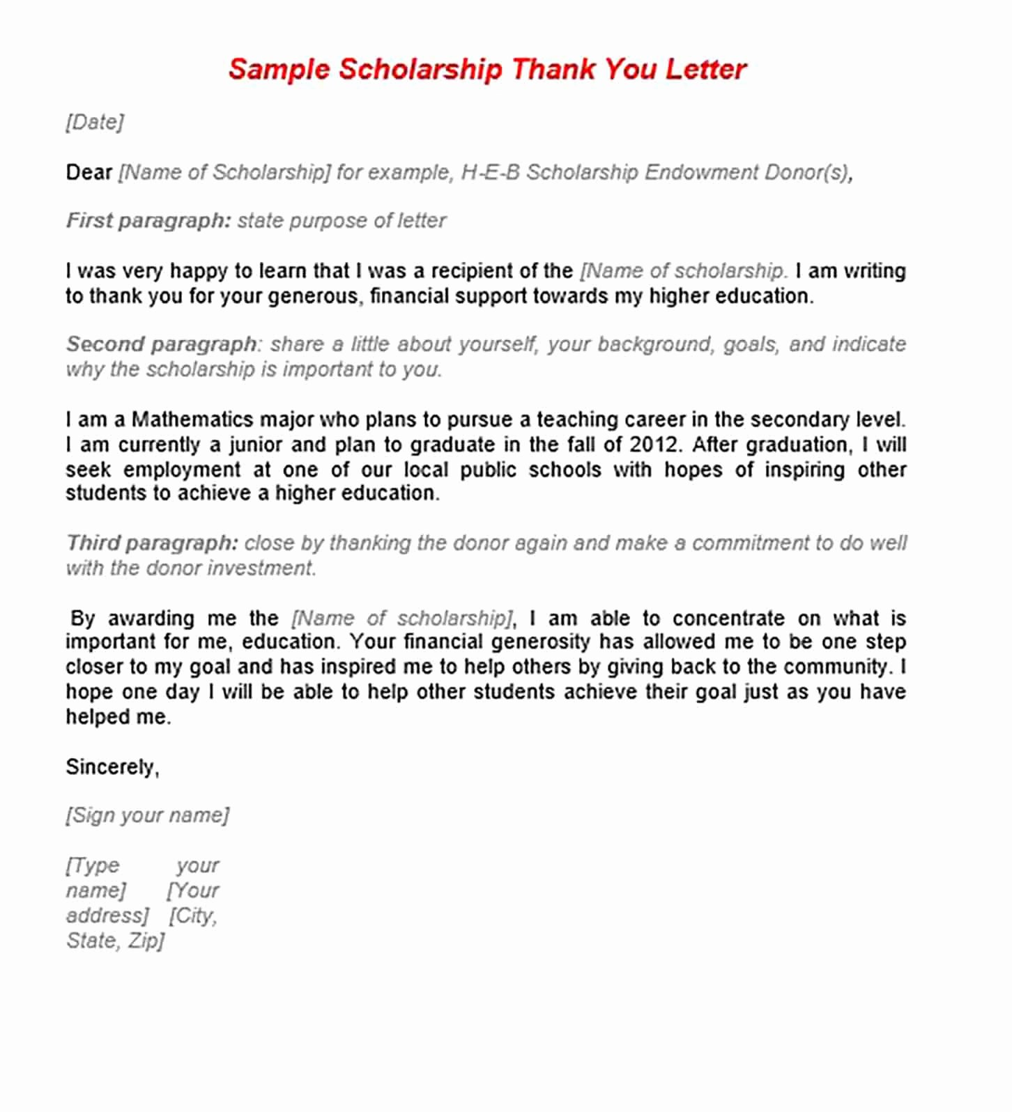 Scholarship Thank You Letter Examples Fresh 11 Scholarship Thank You Letter Sample for Doc Pdf