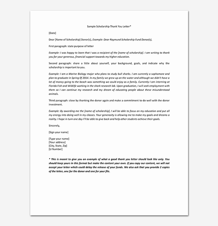 Scholarship Thank You Letter Examples Fresh Thank You Note for Scholarship Samples & Examples
