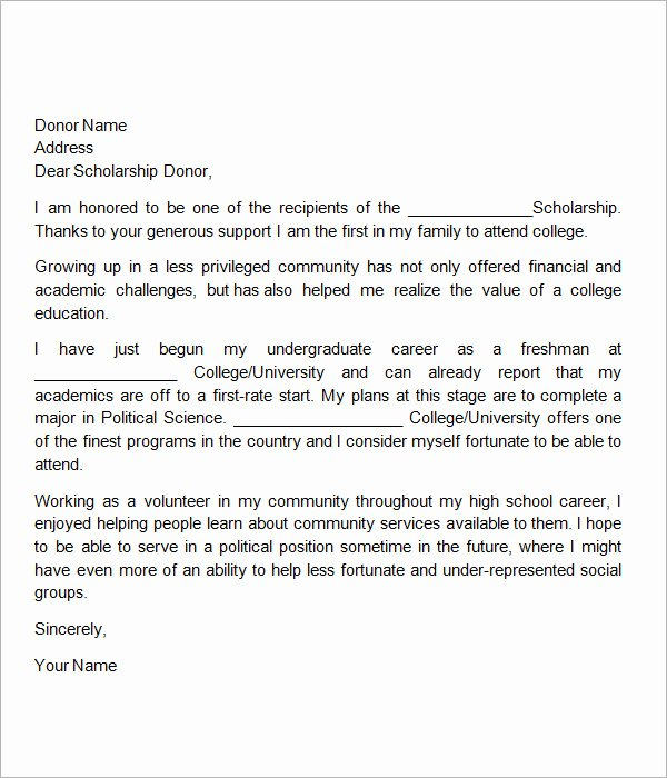 Scholarship Thank You Letter Examples Inspirational Free 13 Sample Scholarship Thank You Letters In Doc