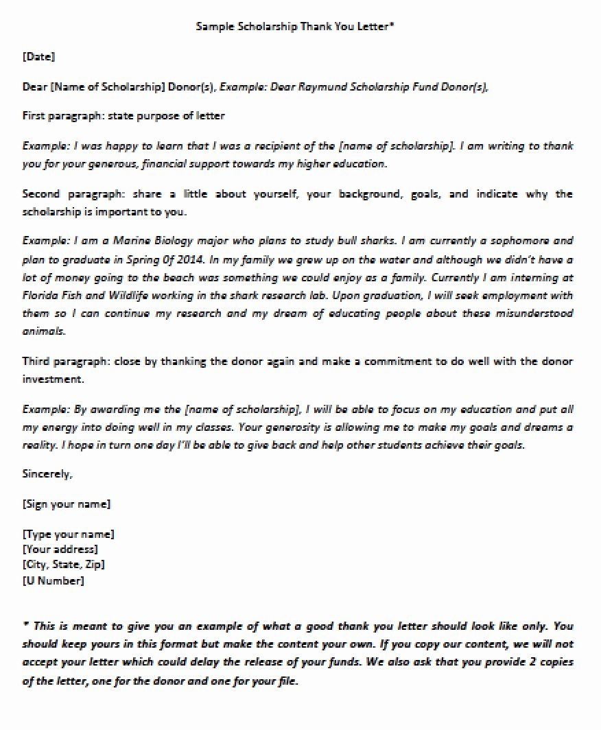Scholarship Thank You Letter Examples New Download Scholarship Thank You Letter Templates