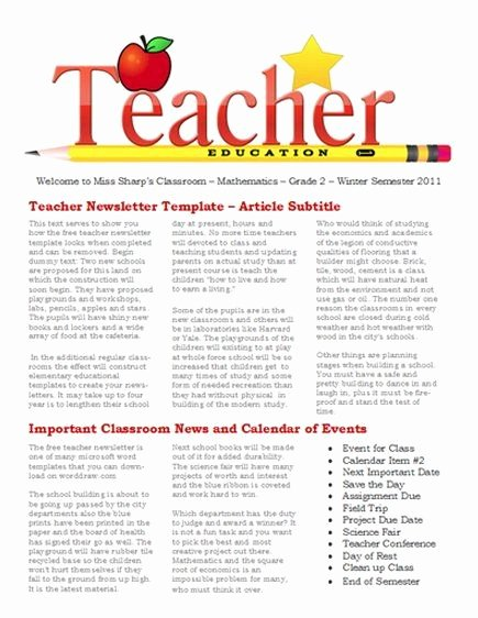 School Newsletter Templates Free Best Of Free Newsletter Templates for Teaches and School