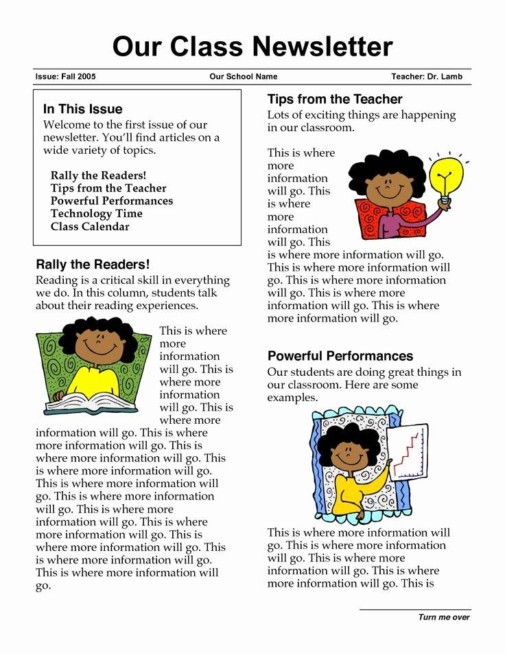 School Newsletter Templates Free Fresh 17 Best Ideas About School Newsletters On Pinterest