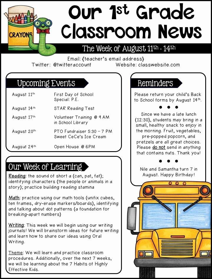 School Newsletter Templates Free Fresh Editable Newsletter Templates